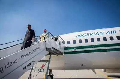 President Buhari alighting from NAF 001