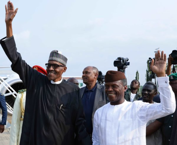 buhari and osinbajo on his return from london