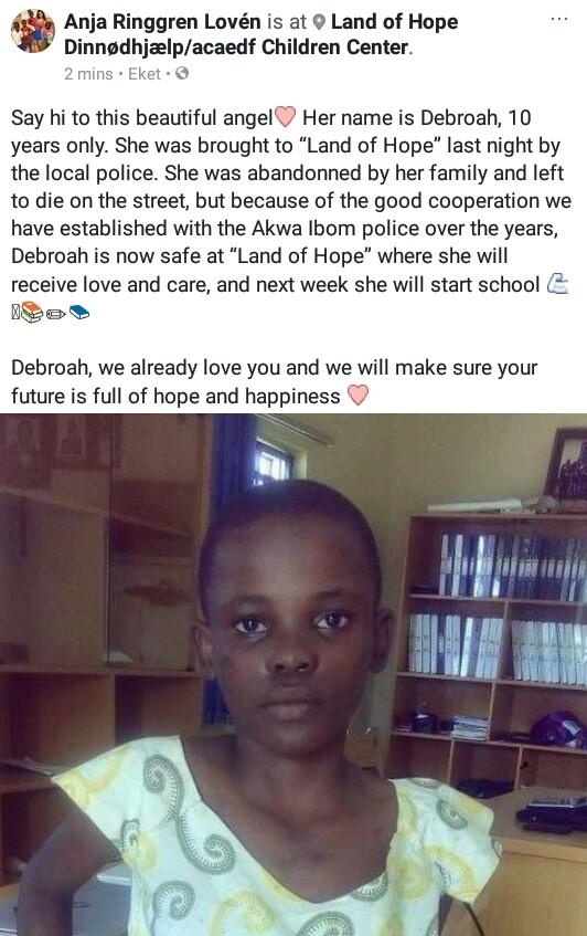 Photo: 10-year-old girl branded a witch, abandoned by her family and left to die on the streets of Akwa Ibom