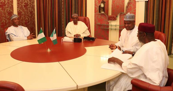Buhari-Saraki-and-Dogara-as-they-sit-for-the-meeting