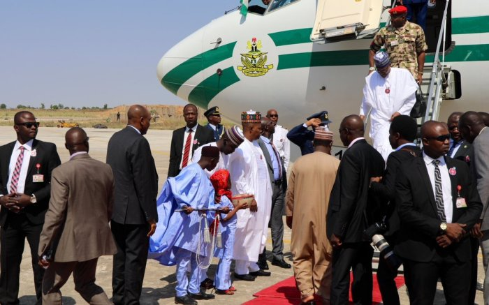 President-Buhari-arrives-Maiduguri